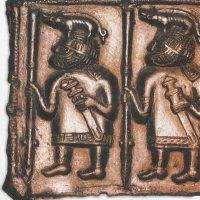 Шведская бронзовая матрица для декорации шлема. Голова кабана Хильдисвини