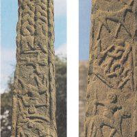 Слева: закованный Локи. Справа: внизу - Фенрир; вверху — Один на коне