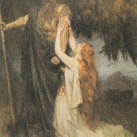 Один и Брюнхильд. Иллюстрация из книги Ф.Л. Спенса «Легенды Рейна». 1915