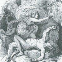 Закованный Локи, за которым ухаживает его верная жена Сигюн