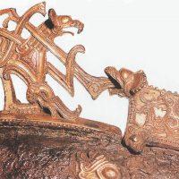 Деталь искусно выполненного датского шейного хомута для двух лошадей