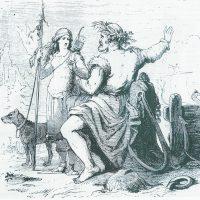 Ньёрд и Скади изображены на обратном пути из Асгарда в Ноатун после медового месяца