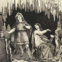 Один соблазняет великаншу Ганнлод,  чтобы получить у нее мед поэзии