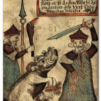 Волк Фенрир отрывает руку Тюру