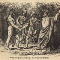 Браги и Хеймдалль встречают павшего в бою воина
