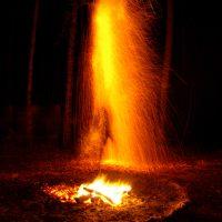 Ночной огнепад в месте силы